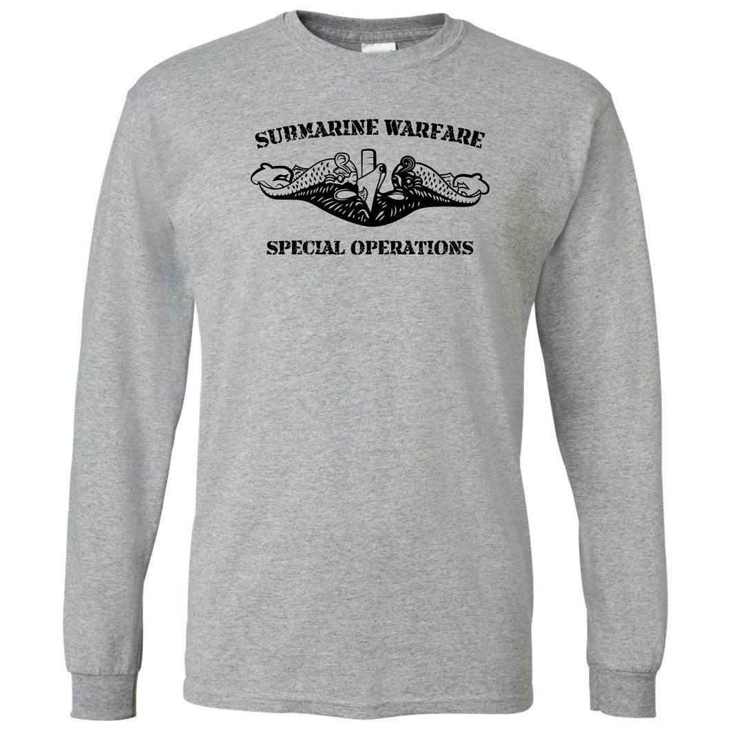Submarine Warfare Special Operations Grey Long Sleeve T-Shirt