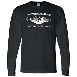 Submarine Warfare Special Operations Black Long Sleeve T-Shirt