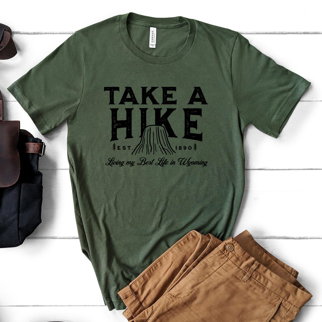 Take a Hike Devils Tower Military Green T-shirt