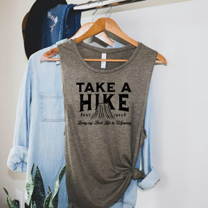 Take a Hike Devils Tower Heather Olive Women's Flowy Scoop Muscle Tank