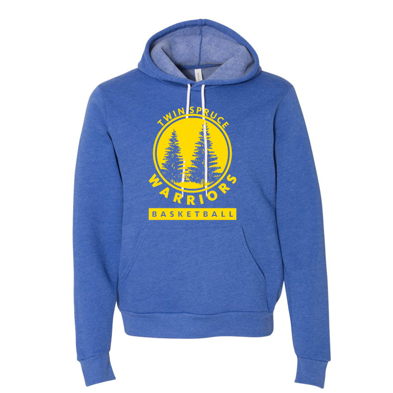 Twin Spruce Warriors Boys Basketball - Bella+Canvas Unisex Fleece Pullover Hoodie