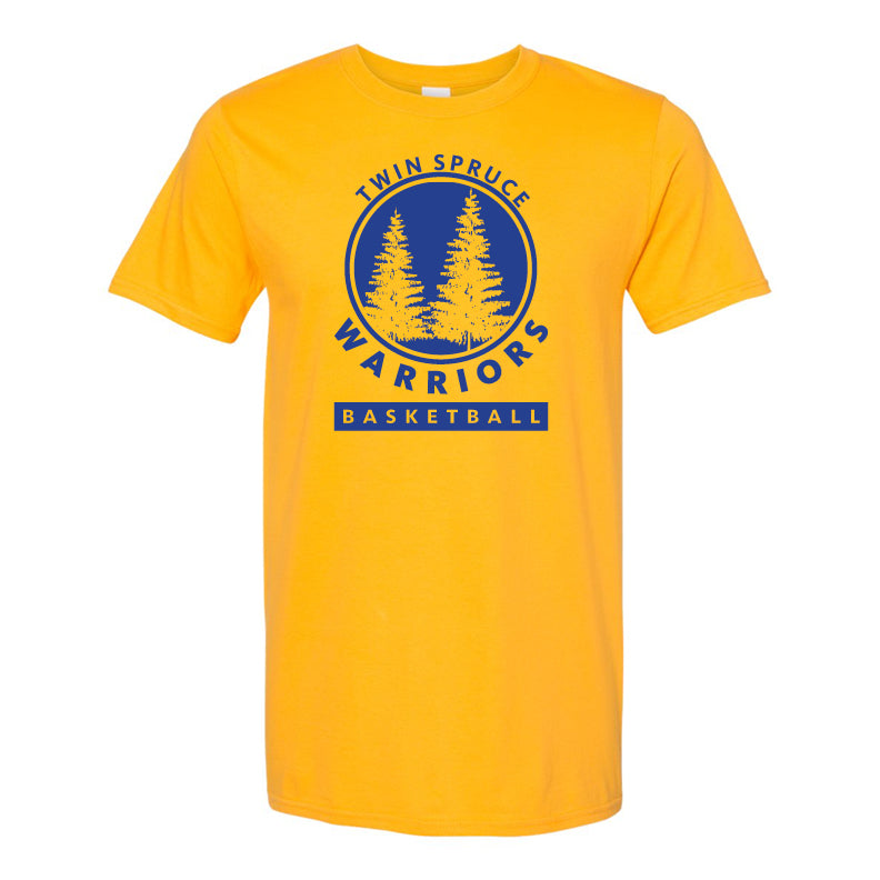 Twin Spruce Warriors Boys Basketball - Gold Gildan - Softstyle® T-Shirt
