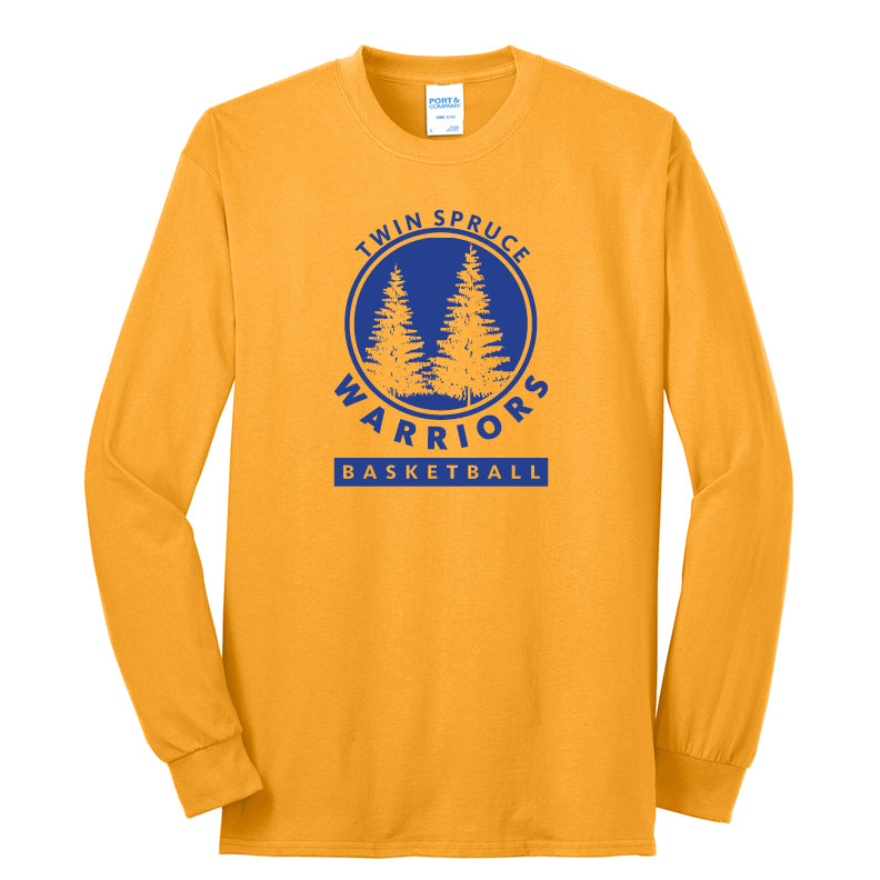 Twin Spruce Warriors Boys Basketball - Gold Port & Company® - Long Sleeve Core Blend Tee