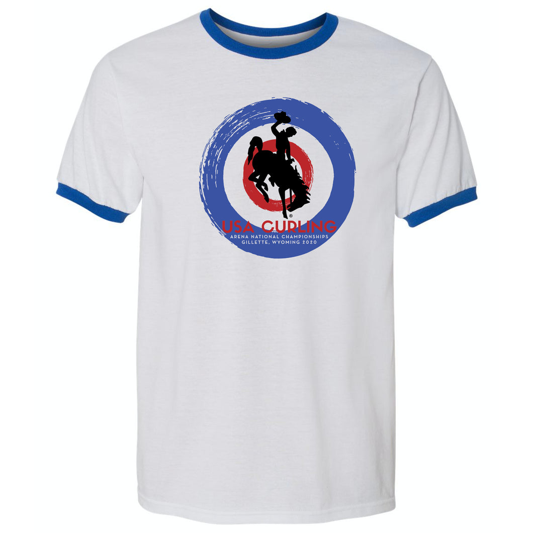 USA Curling 2020 National Championships - Royal Adult Ringer T-Shirt