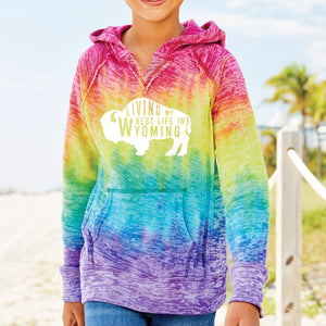 Living My Best Life in Wyoming Burnout YOUTH V-Notch Hooded Tie-Dyed Sweatshirt