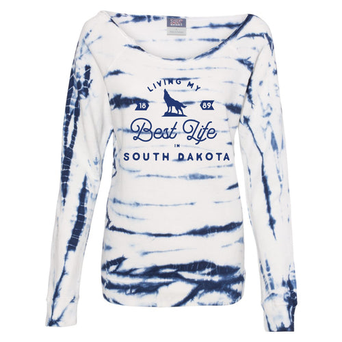 Living My Best Life in South Dakota Coyote Blue Off-the-Shoulder Tie-Dyed Sweatshirt