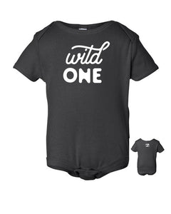 Wild One – Gray Gender Neutral Baby Onsie