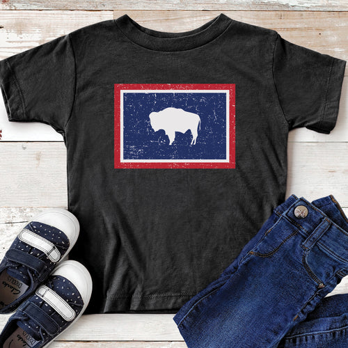 Wyoming Flag Youth and Toddler T-shirt