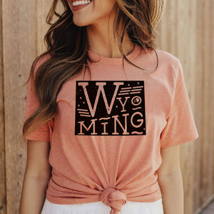 Wyoming State Proud Unisex CVC Jersey Tee - Heather Sunset Prism