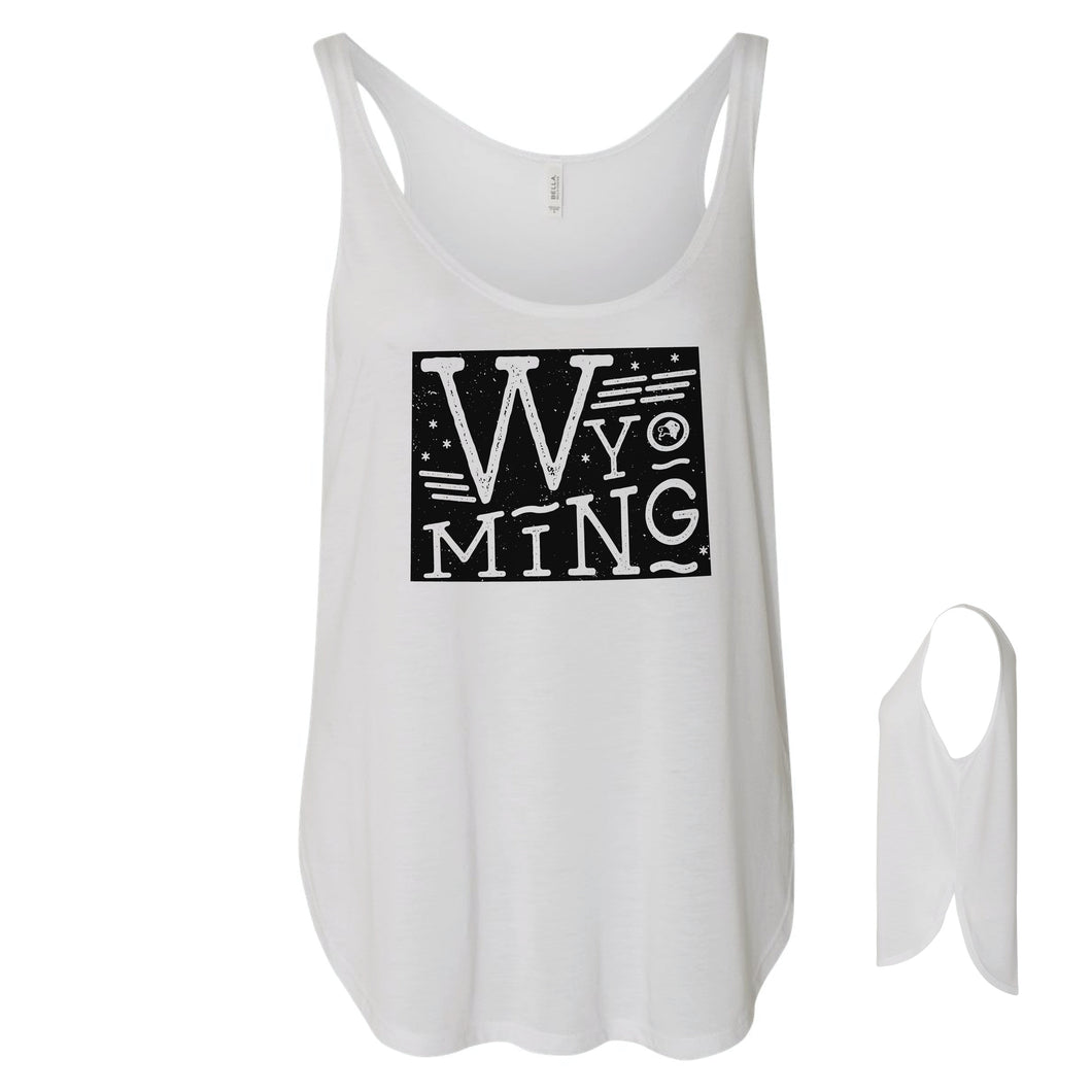 Wyoming State Proud Women's White Flowy Tank with Side Slit
