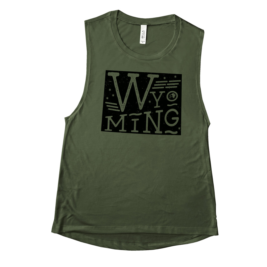 Wyoming State Proud Women's Military Green Flowy Scoop Muscle Tank