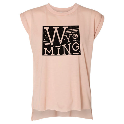 Wyoming State Proud Women's Peach Flowy Rolled Cuffs Muscle Tee