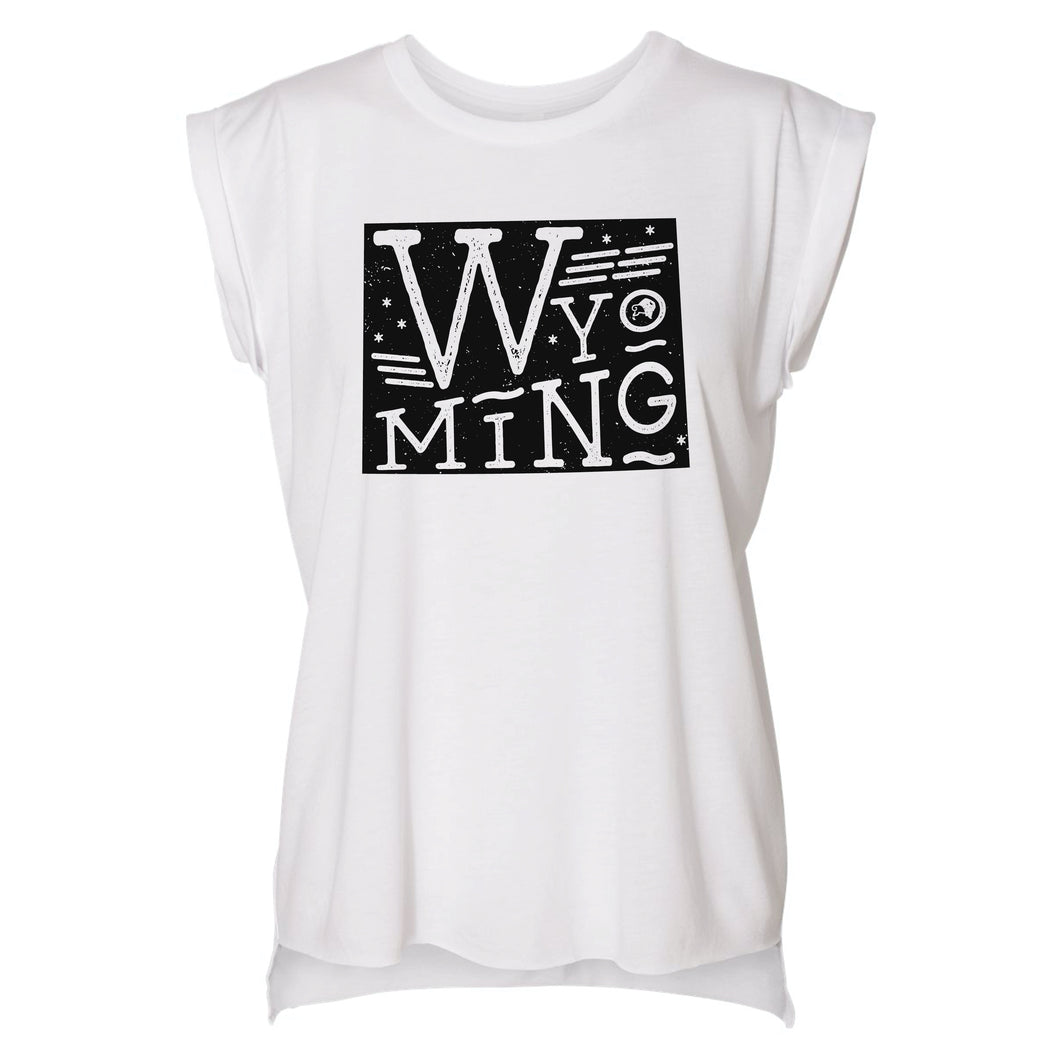 Wyoming State Proud Women's White Flowy Rolled Cuffs Muscle Tee