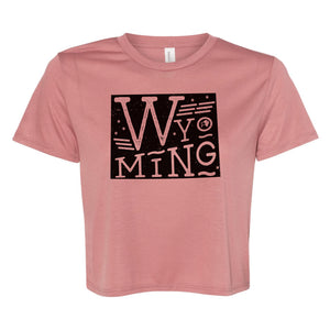 Wyoming State Proud Women's Mauve Flowy Cropped Tee
