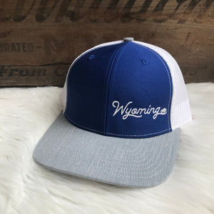 Wyoming low profile Royal + Heather Grey + White trucker snapback