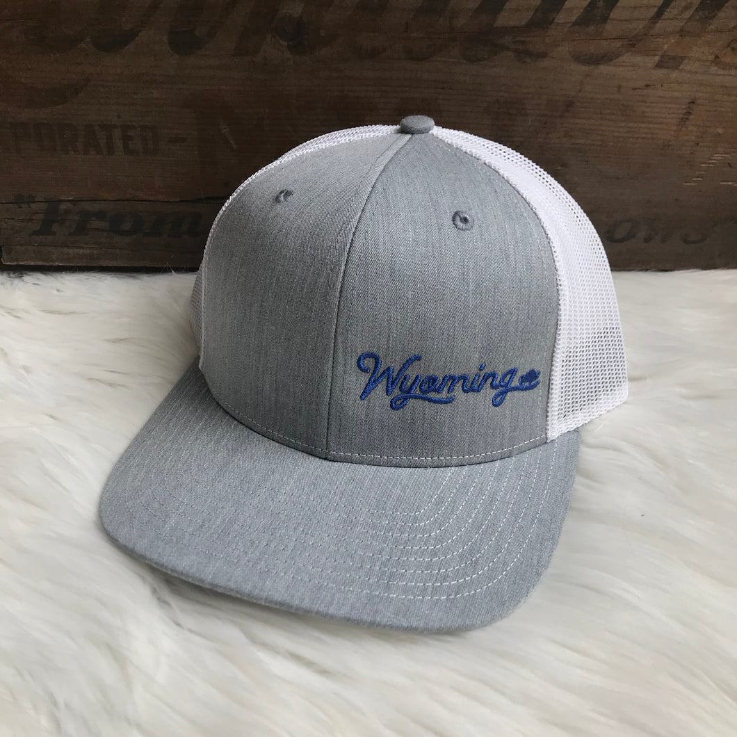 Navy Wyoming low profile Heather Grey + White trucker snapback