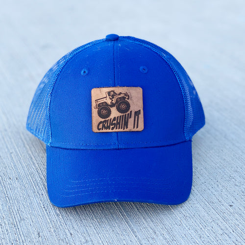 Crushin' It Youth Monster Truck Leather Patch Hat