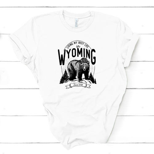 Bear Living My Best Life in Wyoming YOUTH White T-Shirt