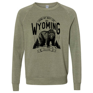 Bear Living My Best Life in Wyoming Army Eco-Fleece Crewneck Sweatshirt