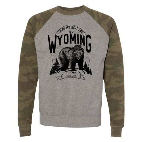 Bear Living My Best Life in Wyoming Camo Unisex Raglan Sweatshirt