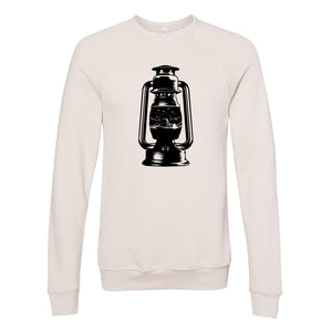 Devils Tower Lantern Heather Dust Unisex Sponge Fleece Raglan Crewneck Sweatshirt