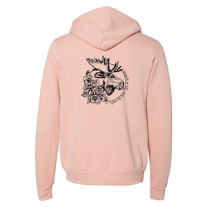 Moose Living My Best Life in Wyoming Unisex Fleece Full-Zip Peach Hoodie