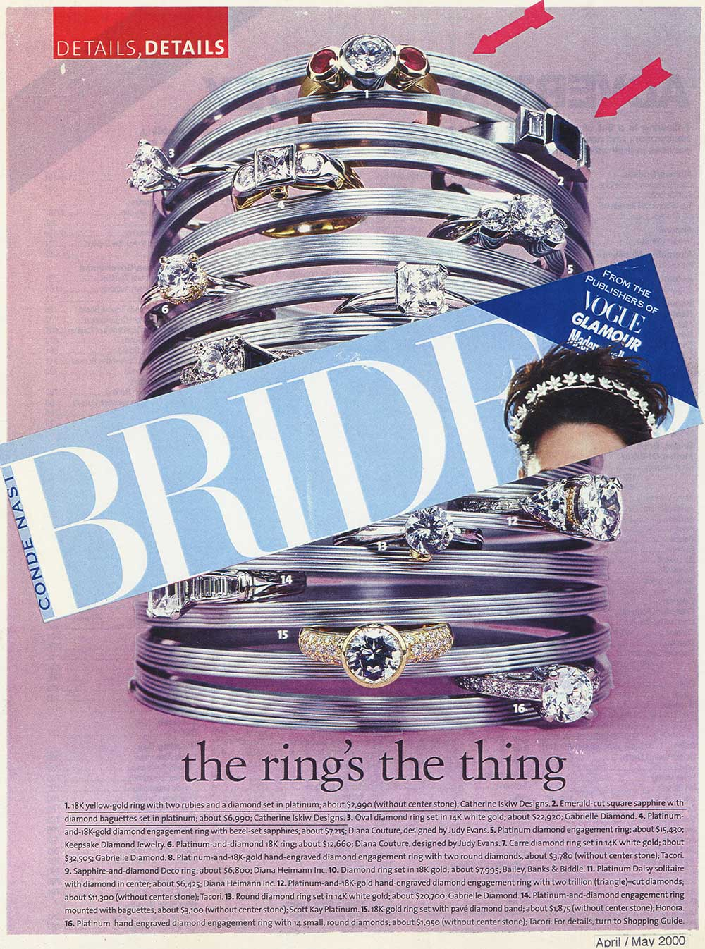 A clip from a Brides cover pasted on an inside page of rings inserted in a slinky including a Catherine Iskiw Designs ring.