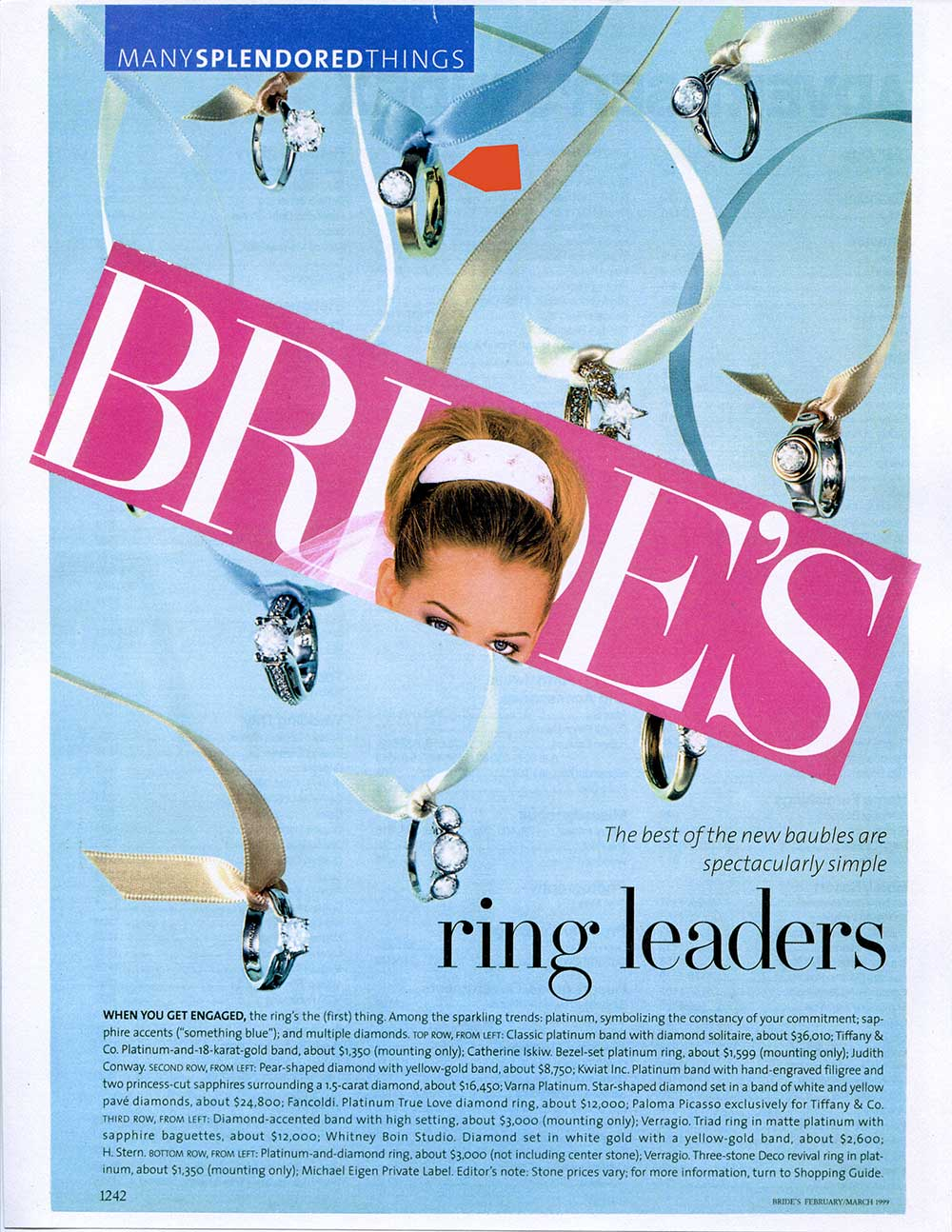 A clip from a Brides cover pasted on an inside page of rings hanging from ribbons including a Catherine Iskiw Designs ring.