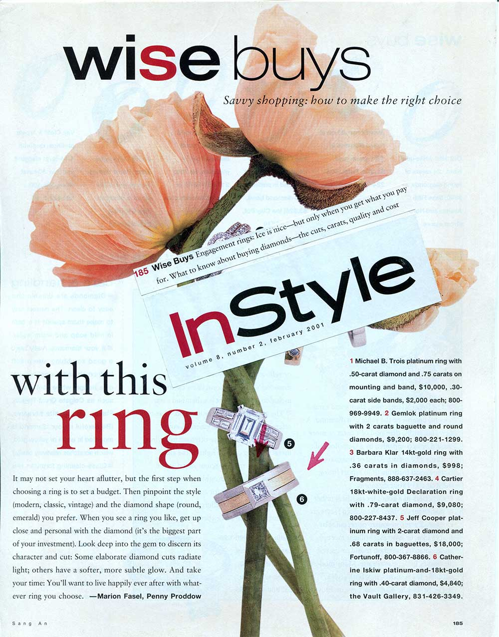 Clip from Instyle magazine showing the Wisebuys page with large peach peonies, a Series 14 ring and another diamond ring.