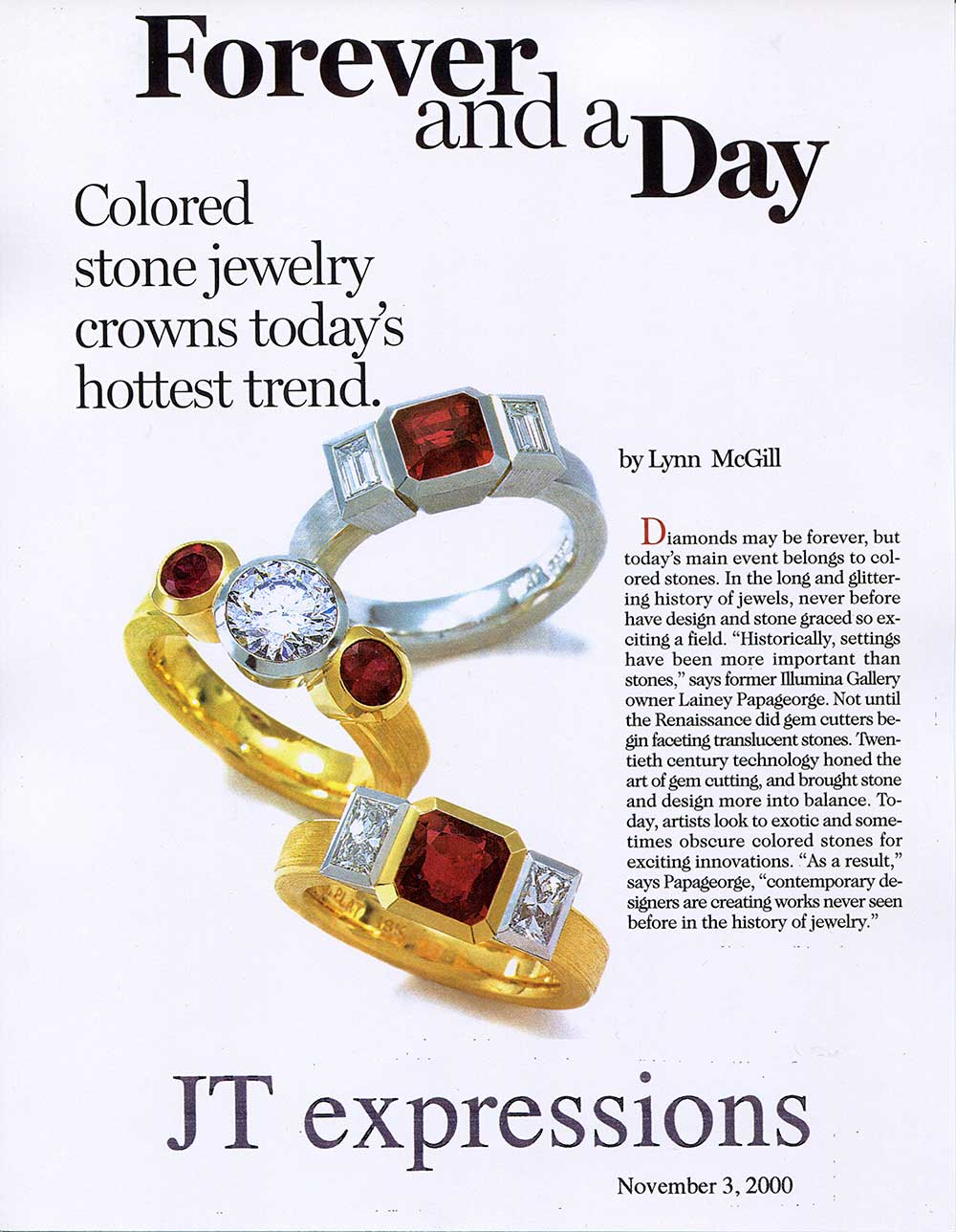 "A New Jersey magazine page with text ""forever and a day"" showing 3 Catherine Iskiw Designs, 3 stone ruby and diamond rings."