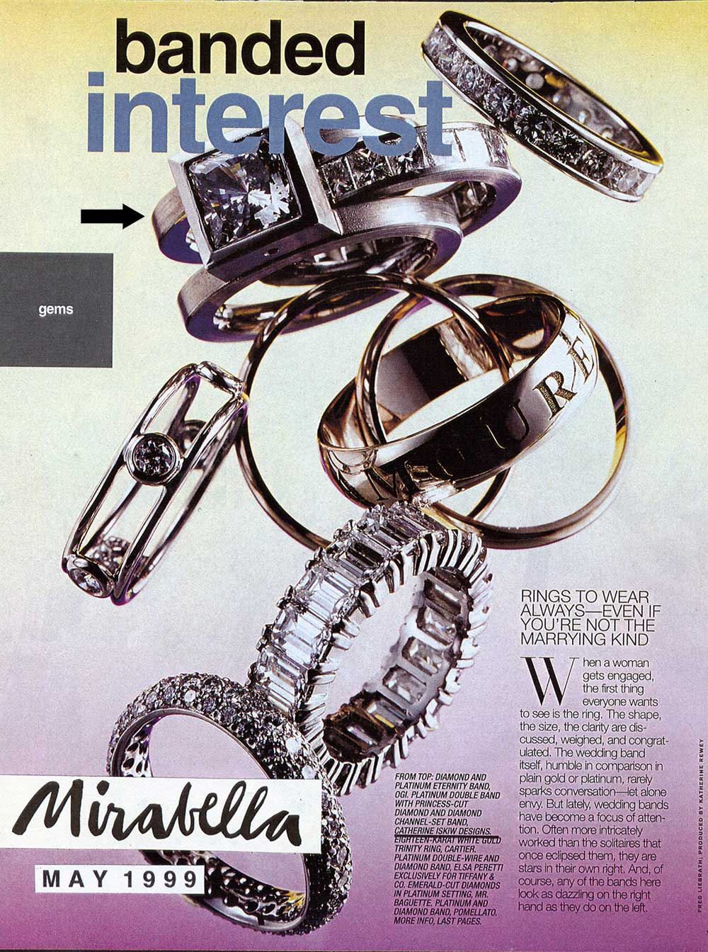 "A Mirabella magazine page with text ""banded interest"" showing various bands including Catherine Iskiw Designs Parallel Ring."