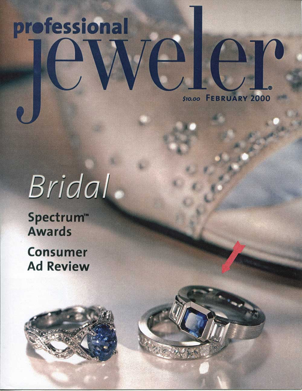 A Professional Jeweler cover with 3 rings including Catherine Iskiw Designs 3 stone Series 20 Ring and Series 14 Band.