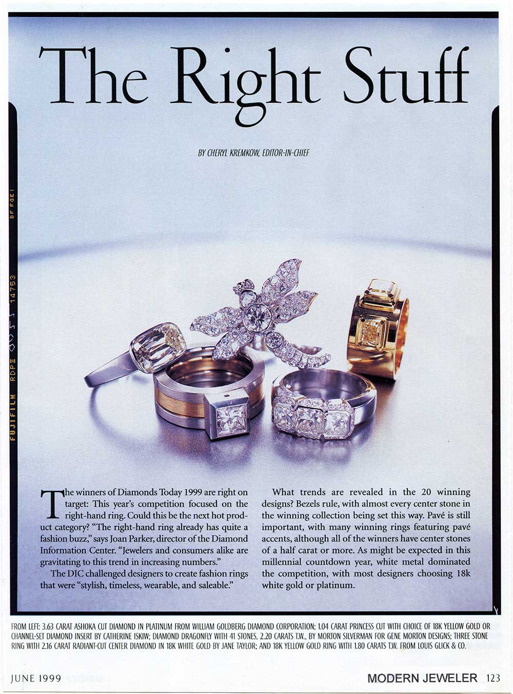 A JCK Trade magazine article showing a selection of large diamond jewelry including Catherine Iskiw Designs Parallel Ring.