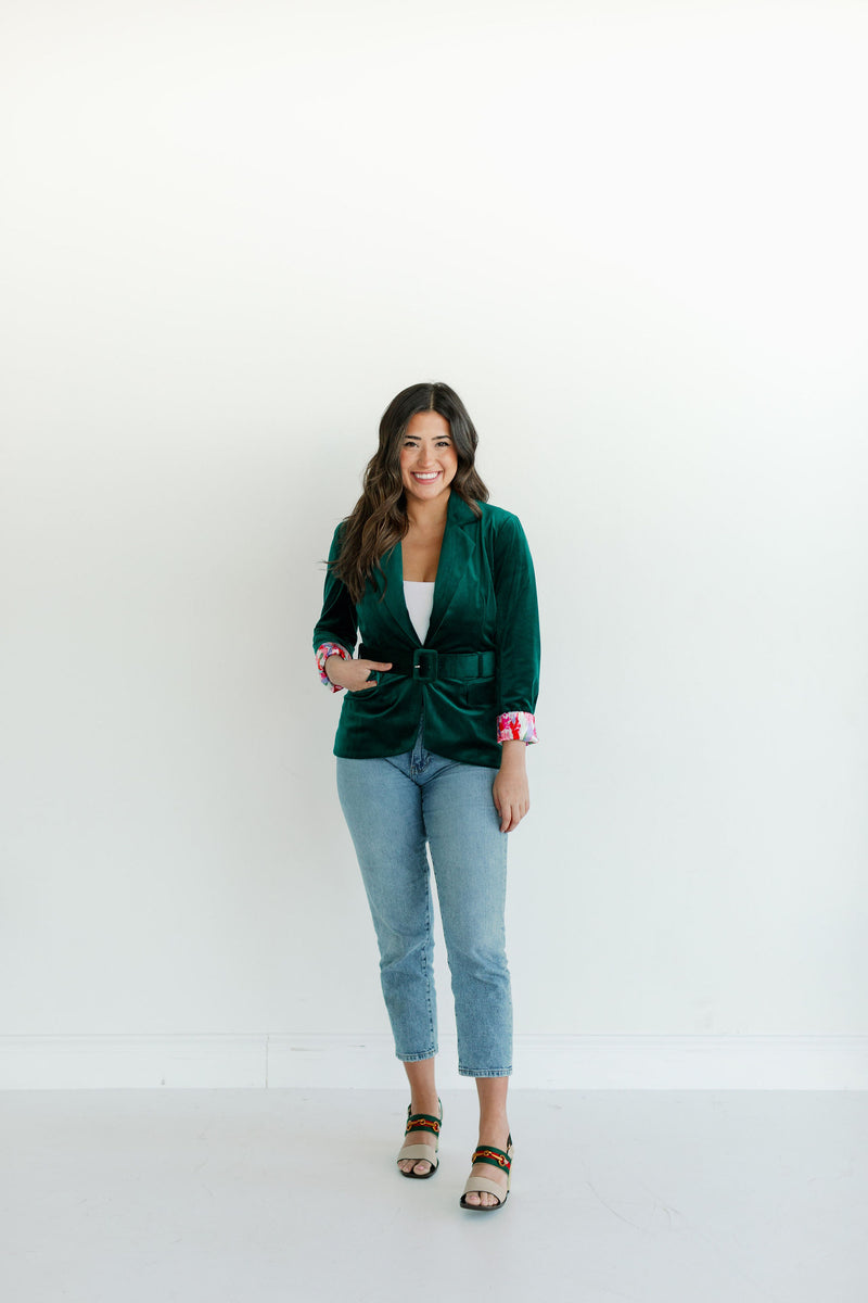 womens green velvet blazer, womens blazer with pockets, female entrepreneur