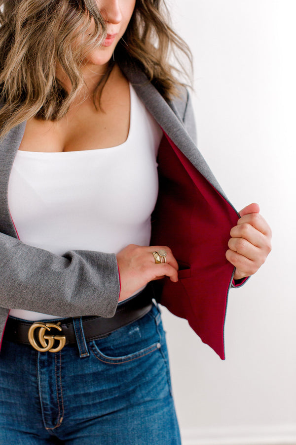 reversible maroon and grey blazer