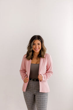 womens blush blazer, womens pink blazer