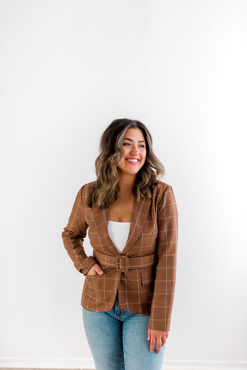 womens tan plaid blazer