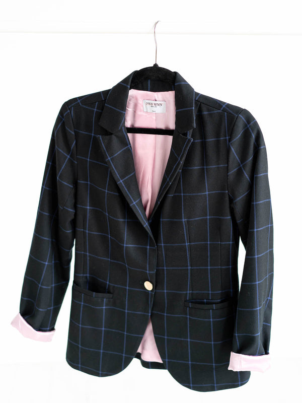 plaid blazer women with inside pocket