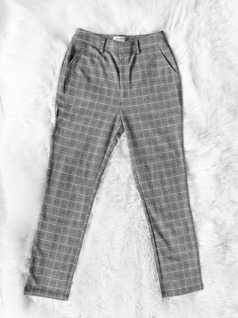 womens grey plaid pants