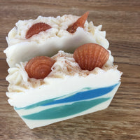 Ocean breeze with sea shell embeds cold processed soap