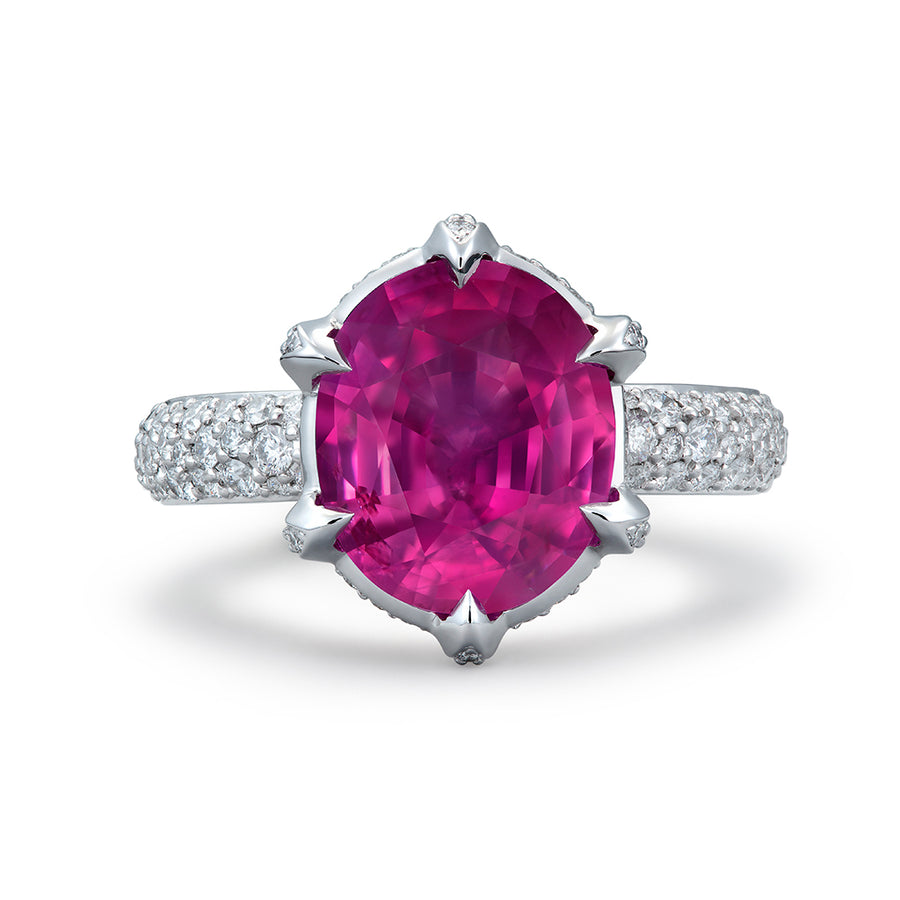 Mogok Ruby Ring with D Flawless Diamonds set in Platinum
