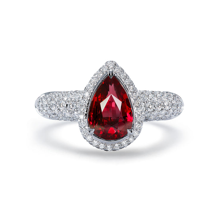 Unheated Pigeon Blood Ruby Ring with D Flawless Diamonds set in 18K White Gold
