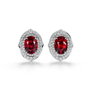 Unheated Pigeon Blood Ruby Earrings with D Flawless Diamonds set in 18K White Gold