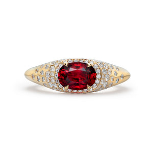 Unheated Pigeon Blood Ruby Ring with D Flawless Diamonds set in 18K Yellow Gold