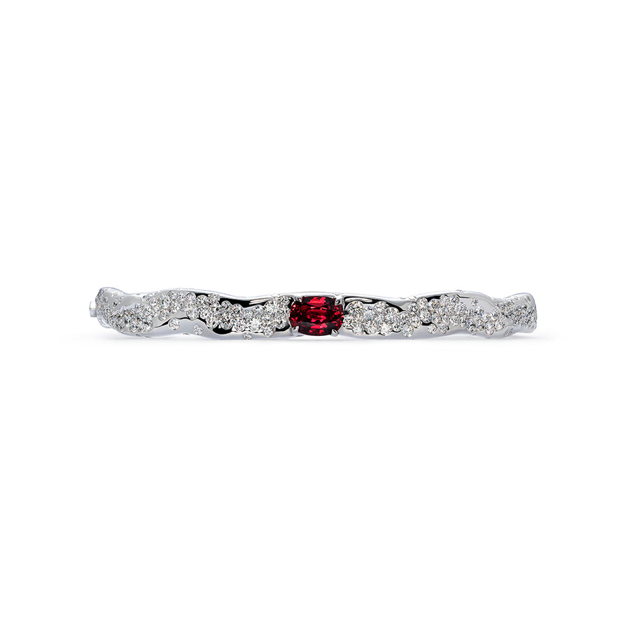 Unheated Pigeon Blood Ruby Bangle with D Flawless Diamonds set in 18K White Gold