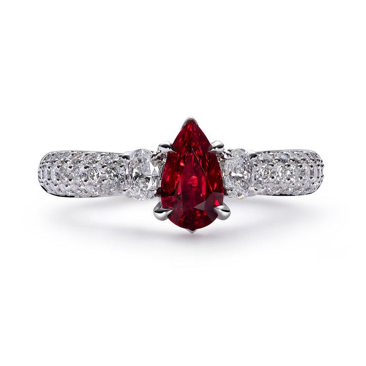 Unheated Pigeon Blood Ruby Ring with D Flawless Diamonds set in Platinum