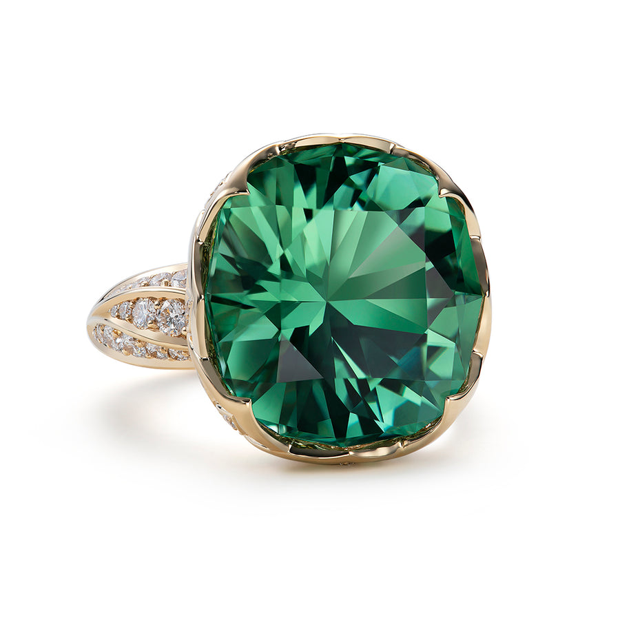 Neon Tourmaline Ring with D Flawless Diamonds set in 18K Yellow Gold