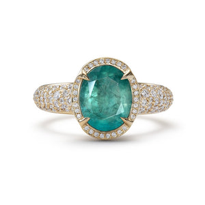 Grandidierite Ring with D Flawless Diamonds set in 18K Yellow Gold