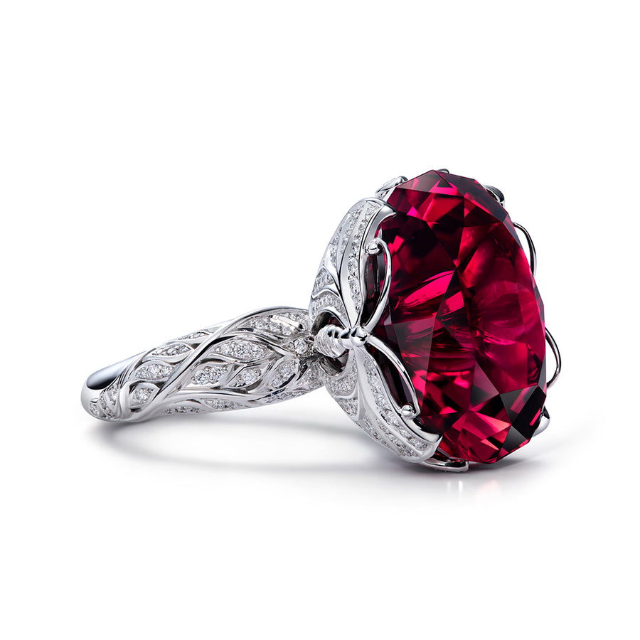 Neon Rubellite Ring with D Flawless Diamonds 18K White Gold