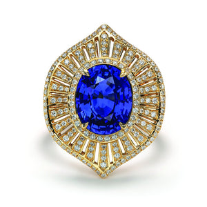 Unheated Natural Ceylon Sapphire Ring with D Flawless Diamonds set in 18K Yellow Gold